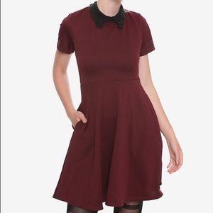 NEW Adorable Hot Topic burgundy skater dress